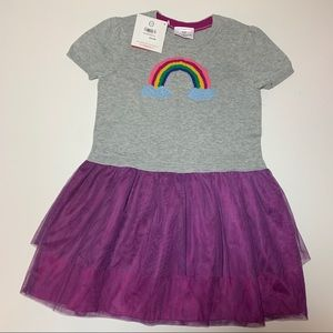 Hanna Andersson Rainbow Sweater Tulle Dress Size 5